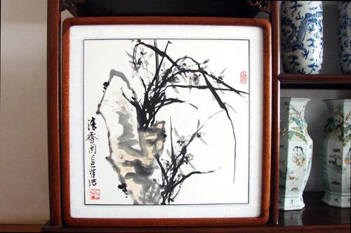 水墨兰草图(红木画框精装裱)之二