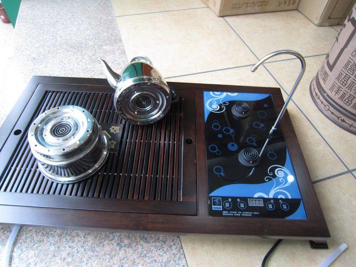 黑檀木/菠萝格木/鸡翅木双电磁炉茶盘